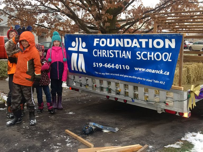 Foundation Christian School Float with Sign