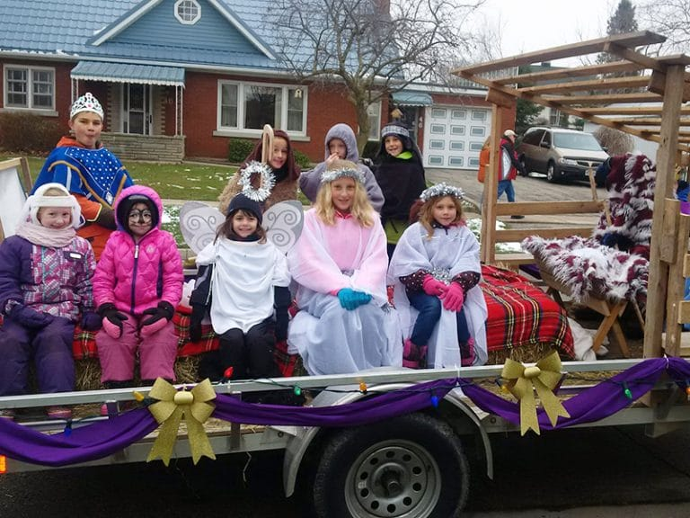 Costumed Students on Christmas Parade Float