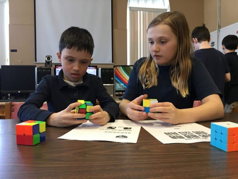 Foundation Students with Rubiks Cubes